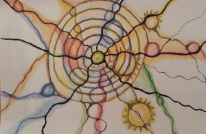 Immunmandala, Zeichnung: Sabine Eggersgl´üß