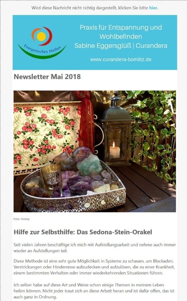 Screenshot - Newsletter der Praxis für Entspannung und Wohlbefinden