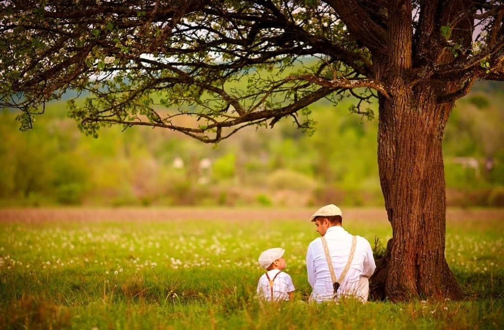 Vater und Sohn sitzen unter einem großen Baum, Foto: Olesia Bilkei/Shutterstock.com